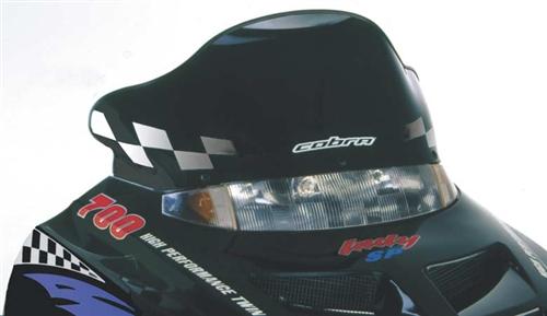 "Polaris Cobra Windshield 10"" Black w/White Racing Flag"